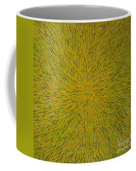 Abstract Coffee Mug featuring the painting Radiation With Yellow Green And Red by Dean Triolo