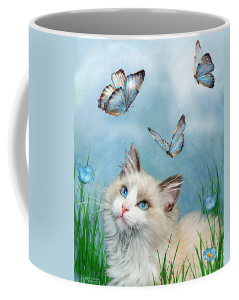 Kitty Coffee Mug featuring the mixed media Ragdoll Kitty And Butterflies by Carol Cavalaris