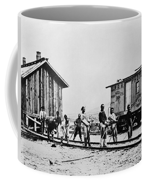 19th Century Coffee Mug featuring the photograph Railroad Chinese Workers by Granger