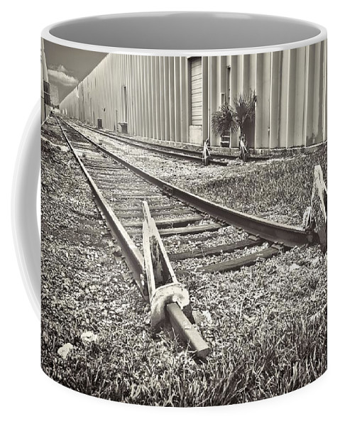 Railroad Coffee Mug featuring the photograph Railroad Tracks Bw by Rudy Umans