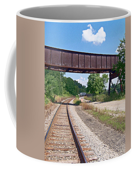 Railroad Coffee Mug featuring the photograph Railroad Train Tracks And Trestle by Phil Perkins