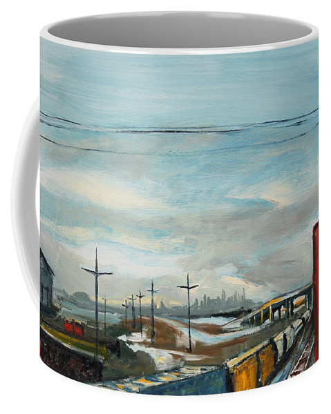 Urban Coffee Mug featuring the painting Rain Train by Asha Carolyn Young