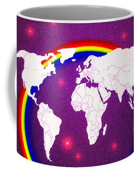 World Coffee Mug featuring the painting Rainbow's World 20 by Algirdas Lukas