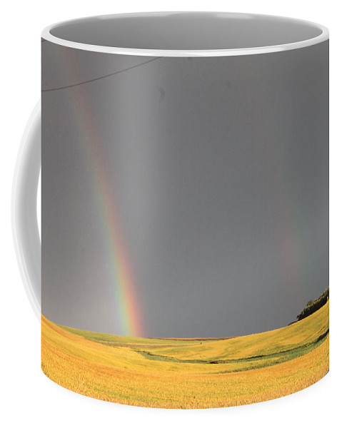 Landscape Coffee Mug featuring the photograph Rainbow And Beanfield by Wayne Williams