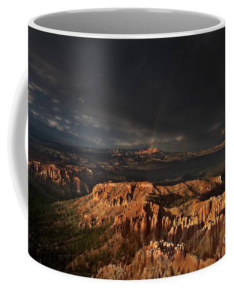North America Coffee Mug featuring the photograph Rainbow And Thunderstorm Over The Paunsaugunt Plateau by Dave Welling