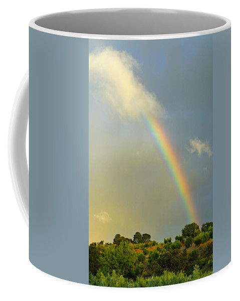 Rainbow Coffee Mug featuring the photograph Rainbow At Sunset by Guido Montanes Castillo