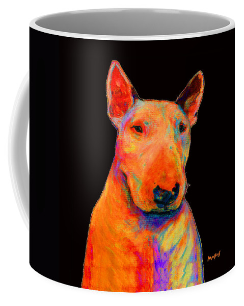 Bull_terrier Coffee Mug featuring the painting Rainbow Bull Terrier by Dale Moses