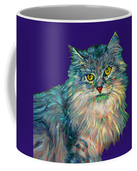 Cat Coffee Mug featuring the painting Rainbow Cat by Dale Moses
