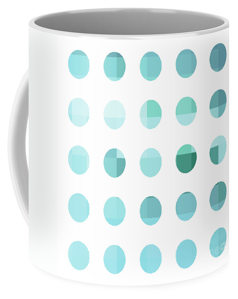 Abstract Coffee Mug featuring the painting Rainbow Dots Aqua by Pixel Chimp