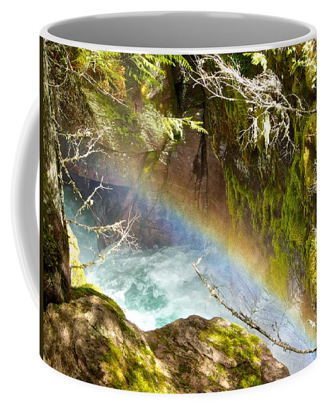 Rainbow In Avalanche Creek Canyon Coffee Mug featuring the photograph Rainbow In Avalanche Creek Canyon In Glacier National Park-montana by Ruth Hager