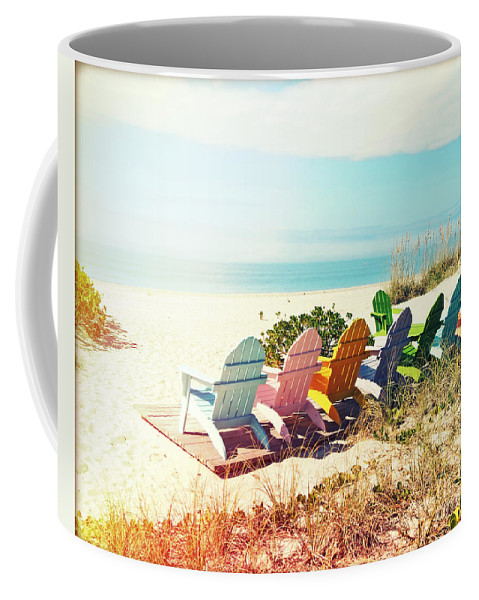 Adirondack Chairs Coffee Mug featuring the photograph Rainbow Of Adirondack Chairs IIII by Chris Andruskiewicz