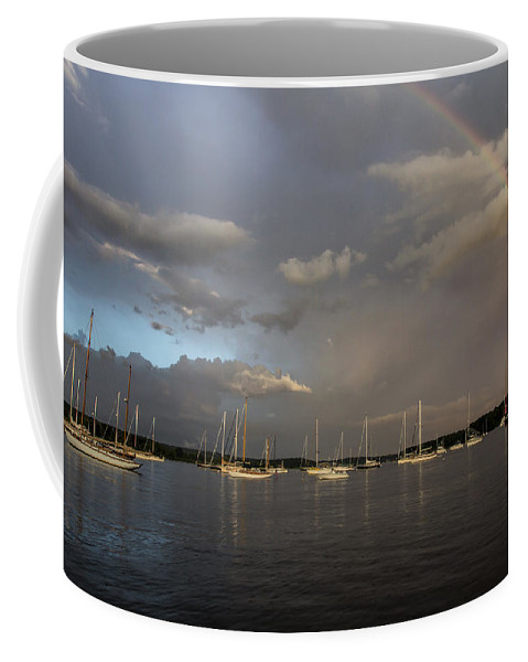 Rainbow Coffee Mug featuring the photograph Rainbow Over Essex by Jonathan Steele