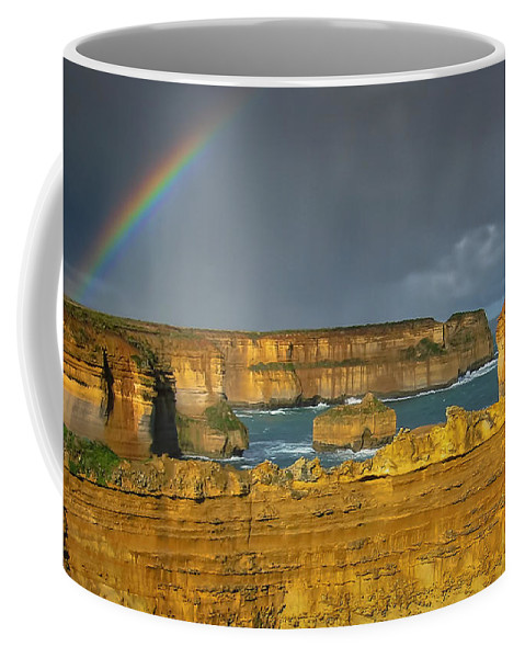 Nature Coffee Mug featuring the photograph Rainbow Over Southern Ocean by Joan Carroll