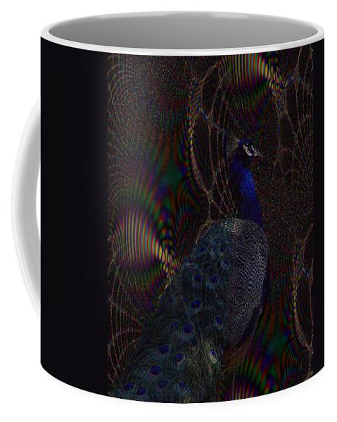 Peacock Coffee Mug featuring the digital art Rainbow Peacock Fractal by TnBackroadsPhotos