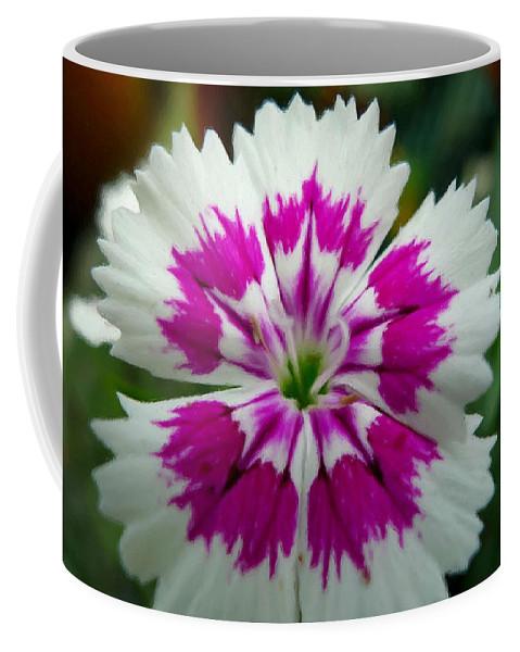 Rainbow Pink Flower Coffee Mug featuring the painting Rainbow Pink Flower by Jeelan Clark