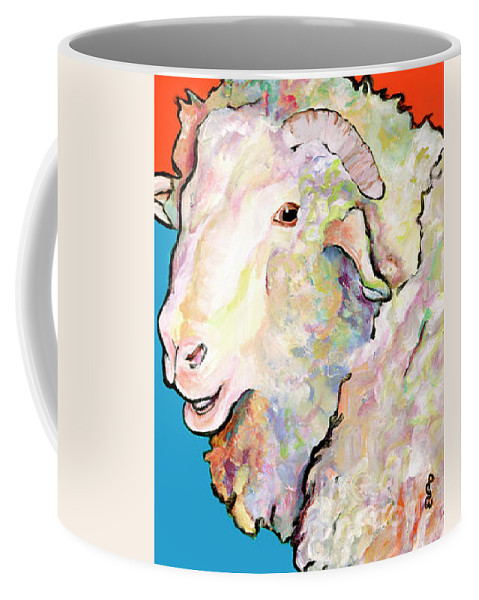 Pat Saunders-white Coffee Mug featuring the painting Rainbow Ram by Pat Saunders-White