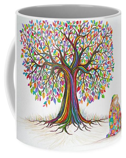 Tree Art Coffee Mug featuring the drawing Rainbow Tree Dreams by Nick Gustafson