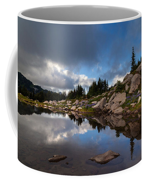 Rainier Coffee Mug featuring the photograph Rainier Spray Park Reflection by Mike Reid