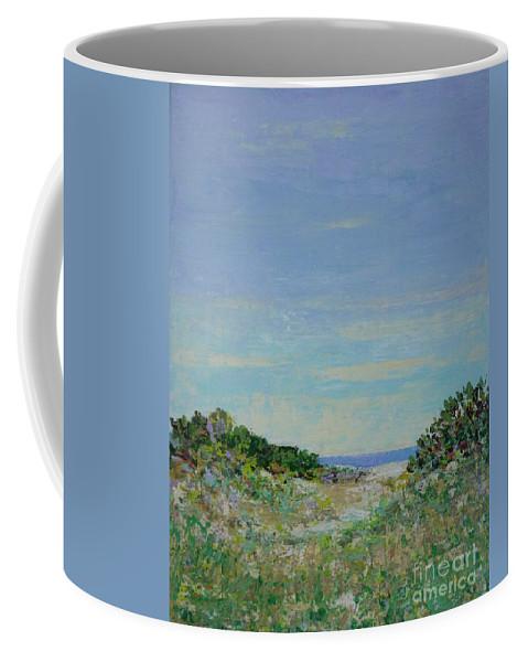 Pantone 2017 Greenery Coffee Mug featuring the painting Rainy Day Beach Blues by Gail Kent