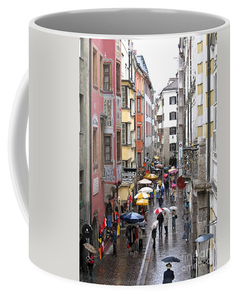 Innsbruck Coffee Mug featuring the photograph Rainy Day Shopping by Ann Horn
