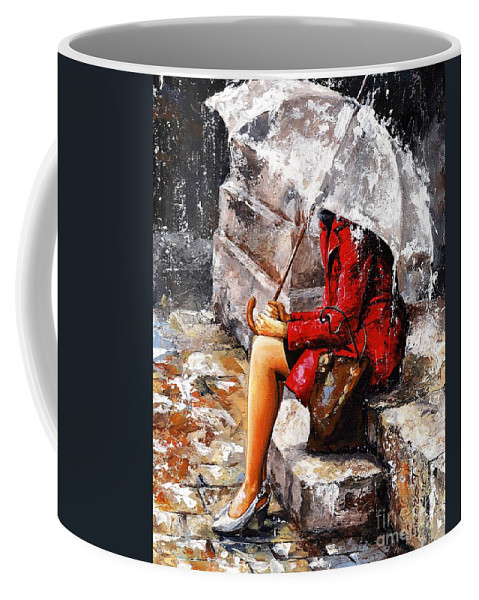 Woman Coffee Mug featuring the painting Rainy Day - Woman Of New York by Emerico Imre Toth