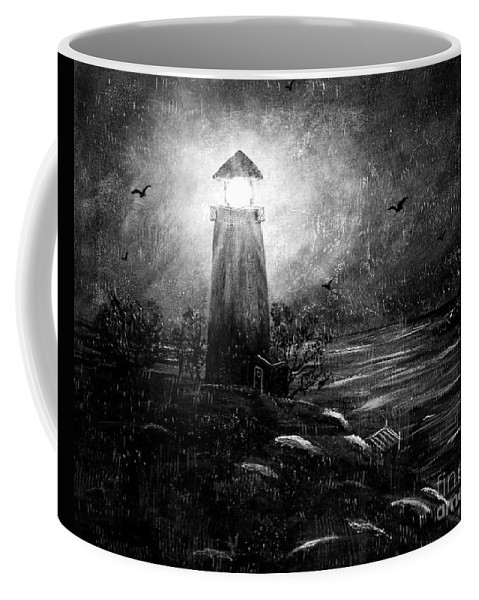 Lighthouse Coffee Mug featuring the painting Rainy Night At The Lighthouse by Barbara Griffin