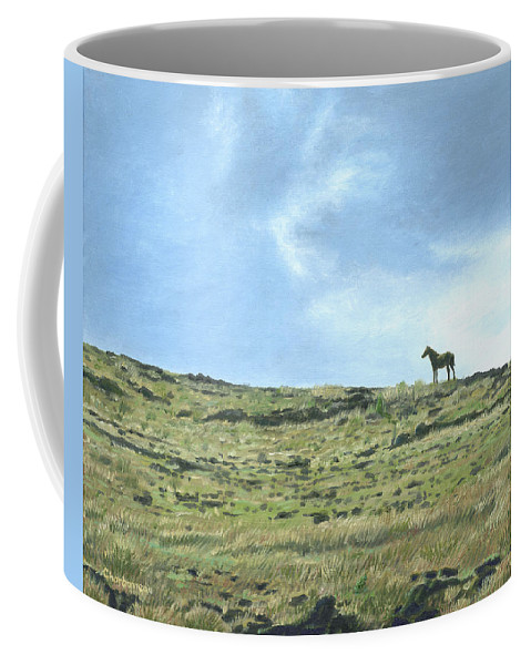 Easter Island Coffee Mug featuring the painting Rapa Nui Horse by Brent Charbonneau