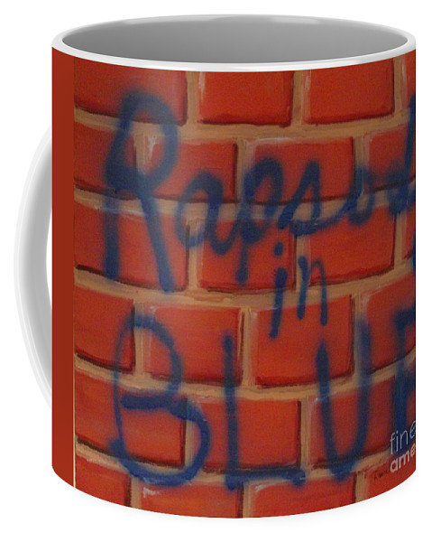 Abstract Coffee Mug featuring the painting Rapsody In Blue by Laurie Morgan