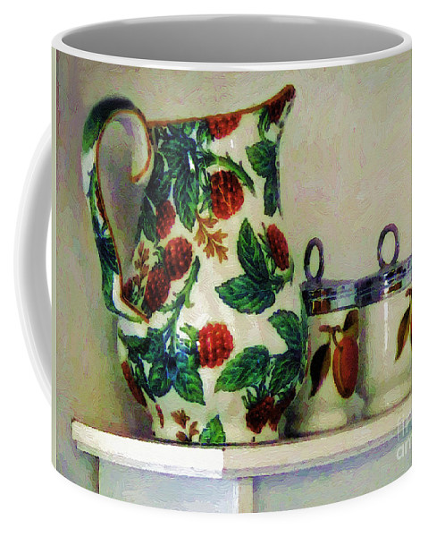 Pitcher Coffee Mug featuring the painting Raspberry Pitcher by RC DeWinter
