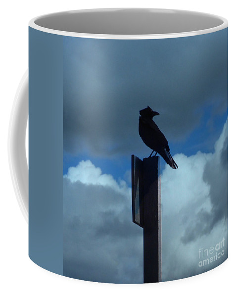 Sky Coffee Mug featuring the photograph Raven Checking The Wind by Jacklyn Duryea Fraizer