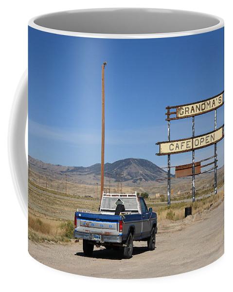America Coffee Mug featuring the photograph Rawlins Wyoming - Grandma's Cafe by Frank Romeo