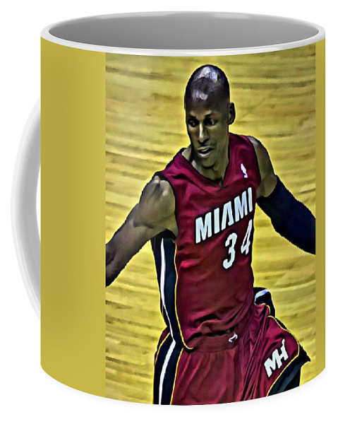 Ray Allen Coffee Mug featuring the painting Ray Allen Portrait by Florian Rodarte