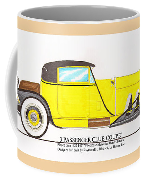 Early 1920's Conceptual Design Of The 3 Passenger Club Coupe By Raymond H. Dietrich Coffee Mug featuring the painting 1922 Mercedes Benz By Raymond Dietrich Z by Jack Pumphrey