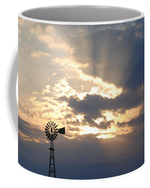 Windmill Coffee Mug featuring the photograph Rays Behind The Mill by Eric Liller