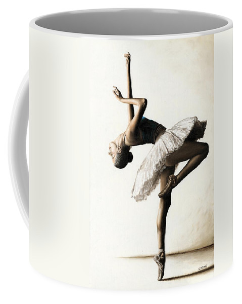 Dancer Coffee Mug featuring the painting Reaching for Perfect Grace by Richard Young