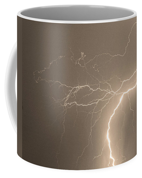 Lightning Coffee Mug featuring the photograph Reaching Out Touching Me Touching You Sepia by James BO Insogna