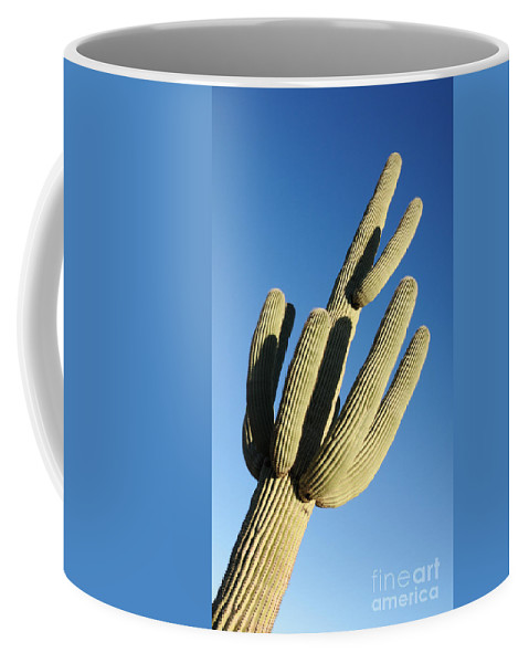Saguaro Coffee Mug featuring the photograph Reaching Skyward by Vivian Christopher