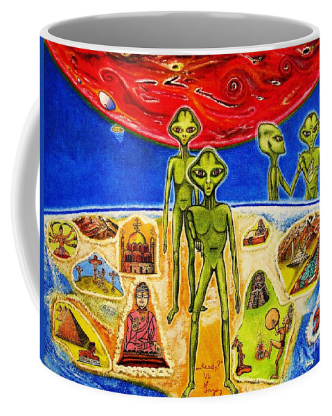 Ufo Coffee Mug featuring the painting ...ready? by Viktor Lazarev