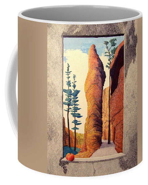 Landscape Coffee Mug featuring the painting Reared Window by A Robert Malcom
