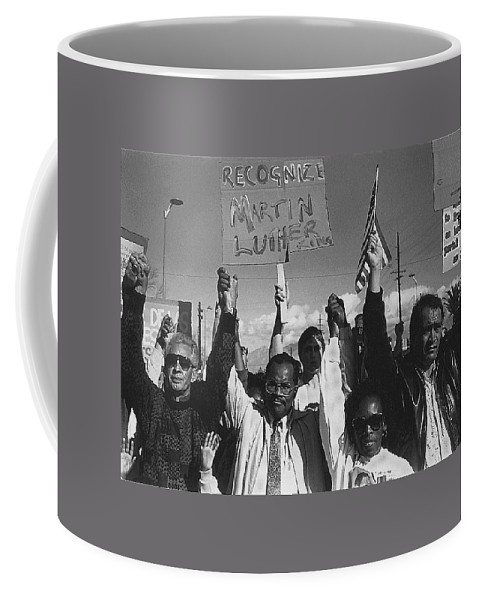Recognize Martin Luther King Day Rally Tucson Arizona 1991 Black And White Coffee Mug featuring the photograph Recognize Martin Luther King Day Rally Tucson Arizona 1991 Black And White by David Lee Guss