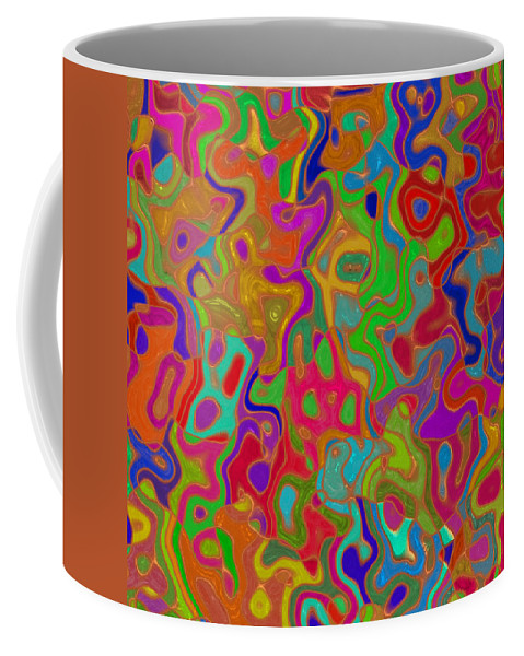 Romanovna Graphic Design Coffee Mug featuring the digital art Red And Gold Abstract by Georgiana Romanovna