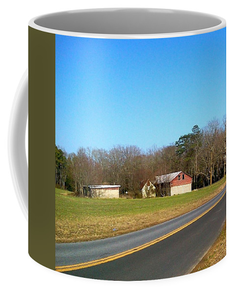 Red Coffee Mug featuring the photograph Red And White Barn With Trees by Chris W Photography AKA Christian Wilson