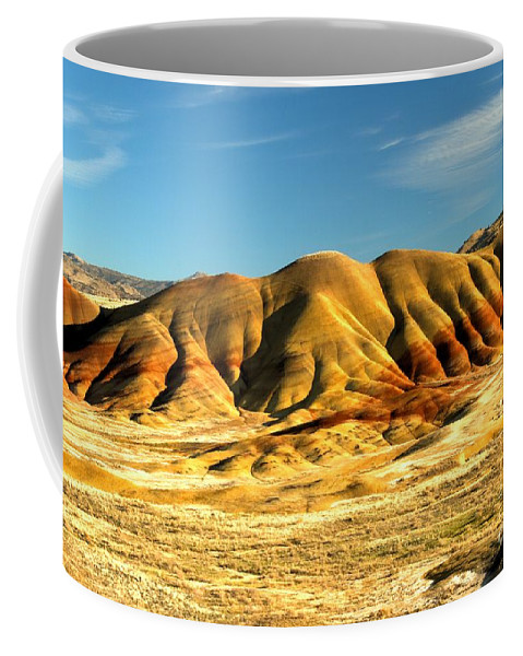 Painted Hills Coffee Mug featuring the photograph Red And Yellow Painted Hills by Adam Jewell