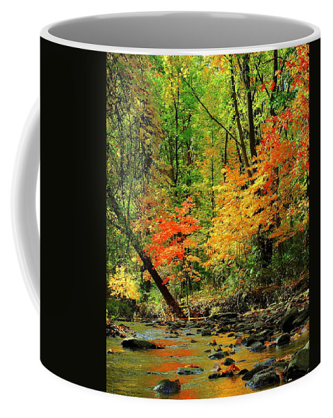 Red Coffee Mug featuring the photograph Red And Yellow Water Glow by Frozen in Time Fine Art Photography