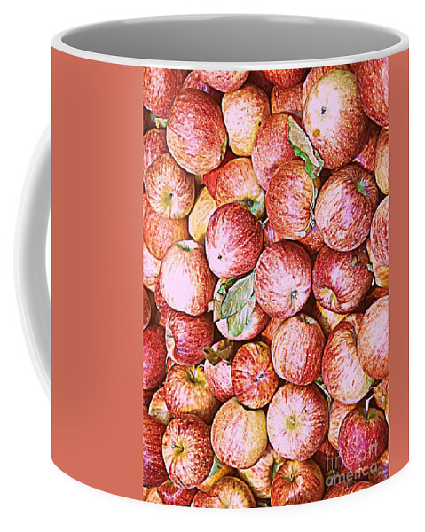 Apples Coffee Mug featuring the photograph Red Apples With Green Leaf by Miriam Danar