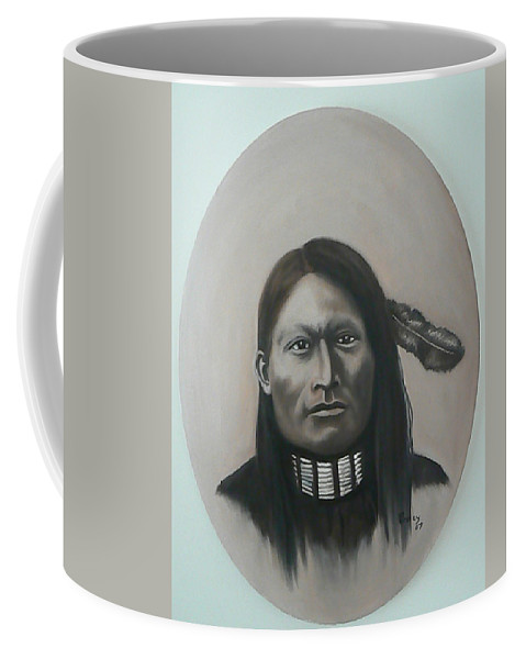 Michael Coffee Mug featuring the painting Red Armed Panther by Michael TMAD Finney