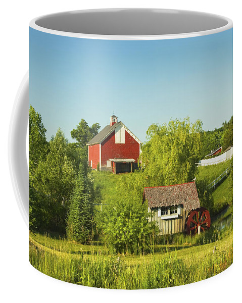 Farm Coffee Mug featuring the photograph Red Barn And Water Mill On Farm In Maine by Keith Webber Jr