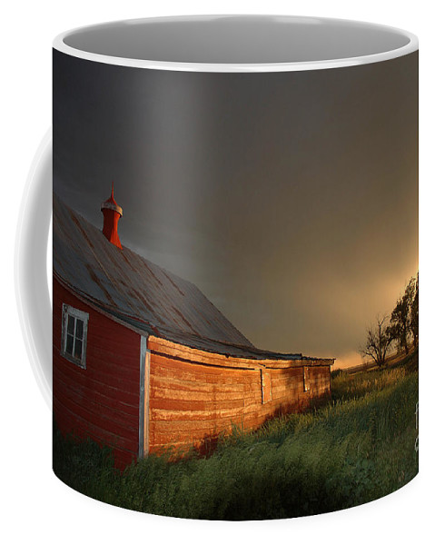Barn Coffee Mug featuring the photograph Red Barn At Sundown by Jerry McElroy