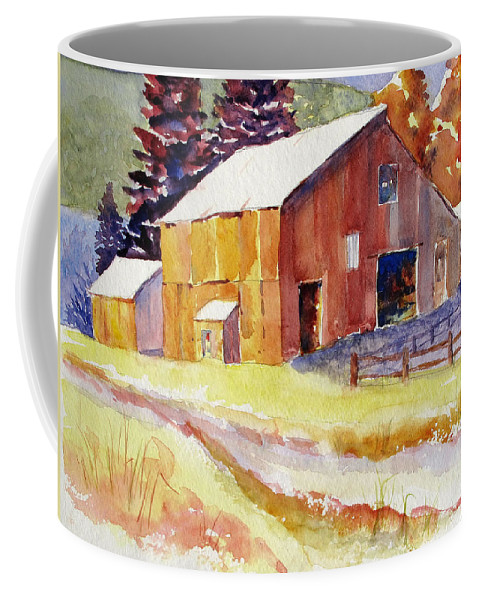 Coffee Mug featuring the painting Red Barn by Linda Haile