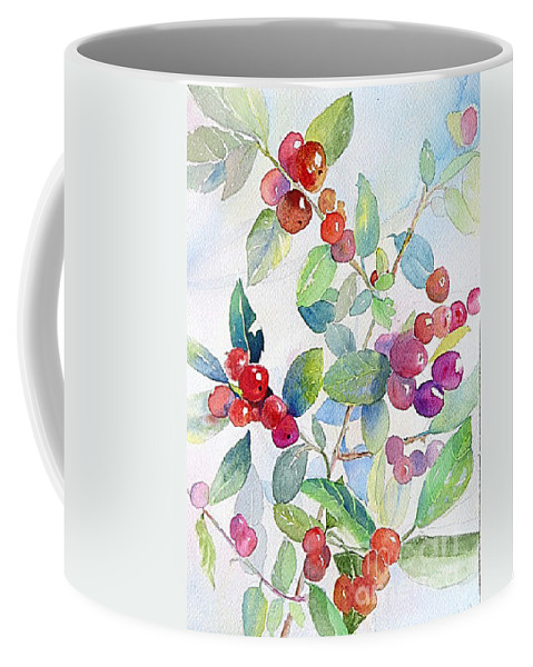 Coffee Mug featuring the painting Red Berries by Linda Haile